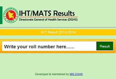 Admission test results of MATS and IHT 2014-2015